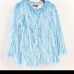 New Dolls Kill Blue Faux Fur Coat Size: Medium
